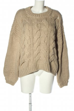 Nakd Strickpullover wollweiß Zopfmuster Casual-Look