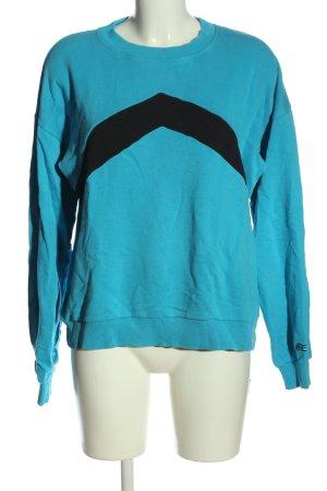 Nakd Sweatshirt blau-schwarz Streifenmuster Casual-Look