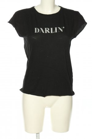 Nakd T-Shirt black-silver-colored printed lettering casual look