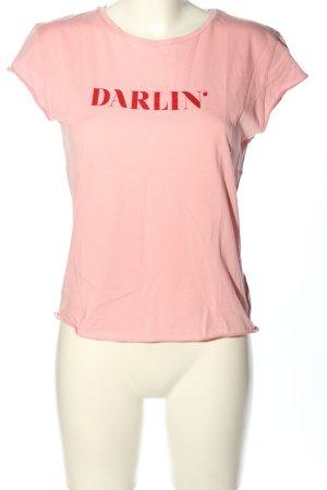 Nakd T-shirt rosa caratteri stampati stile casual