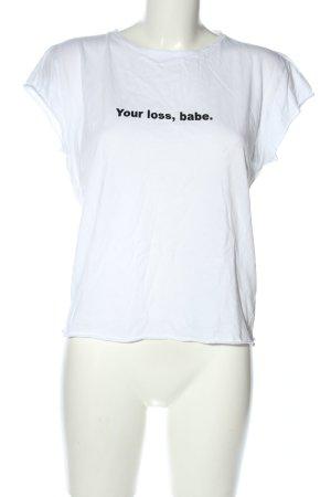 Nakd T-shirt blanc-noir lettrage imprimé style décontracté
