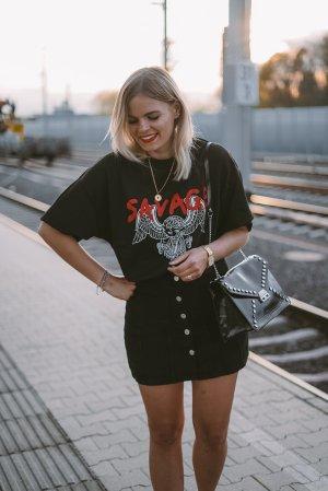 Nakd T-Shirt schwarz-weiß Motivdruck Casual-Look