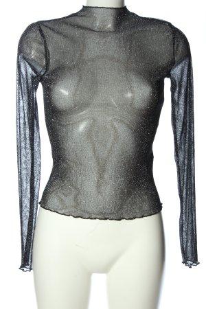 Nakd Transparenz-Bluse schwarz Glitzer-Optik