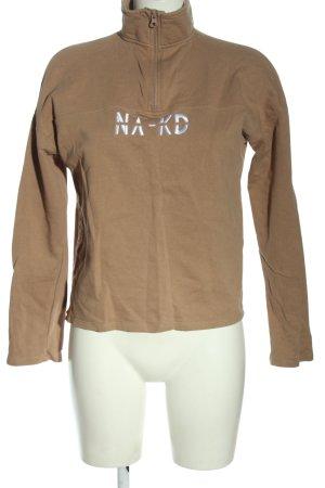 Nakd Pull marin brun lettrage imprimé style décontracté