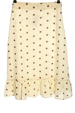 Nakd Spódnica z falbanami w kolorze białej wełny-brązowy Wzór w kropki