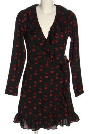Nakd Vestido cruzado negro-rojo estampado repetido sobre toda la superficie