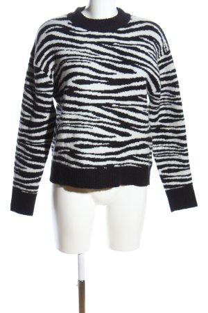 Nakd Wollpullover schwarz-weiß abstraktes Muster Casual-Look