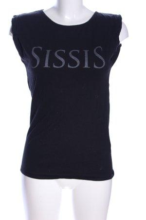 Nakedshirt T-Shirt schwarz-hellgrau Schriftzug gedruckt Casual-Look