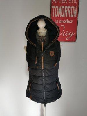 Naketano Hooded Vest black-brown cotton
