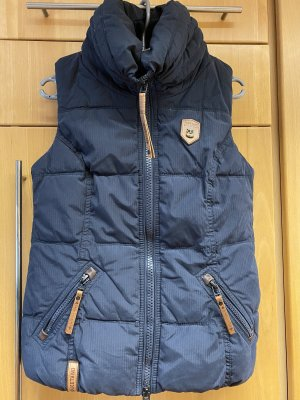 Naketano Quilted Gilet dark blue-cognac-coloured