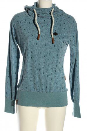 Naketano Hooded Shirt turquoise-black allover print casual look