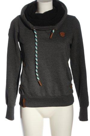 Naketano Hooded Sweatshirt light grey flecked casual look