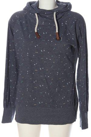 Naketano Felpa con cappuccio blu-grigio chiaro motivo grafico stile casual