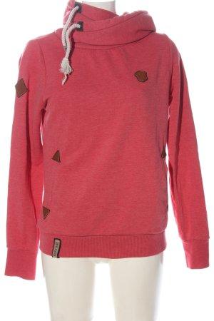 Naketano Hooded Sweatshirt red flecked casual look