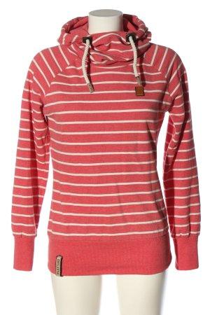 Naketano Sweat à capuche rouge-blanc imprimé allover style décontracté
