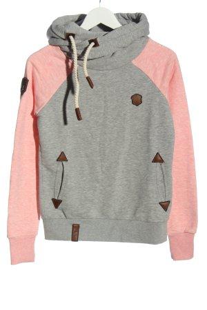 Naketano Felpa con cappuccio grigio chiaro-rosa puntinato stile casual