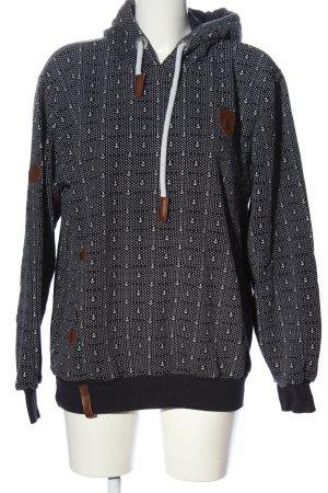 Naketano Hooded Sweatshirt white-black allover print casual look