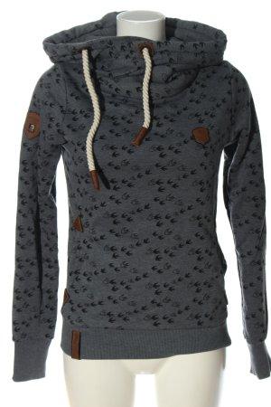 Naketano Hooded Sweatshirt light grey-black allover print casual look