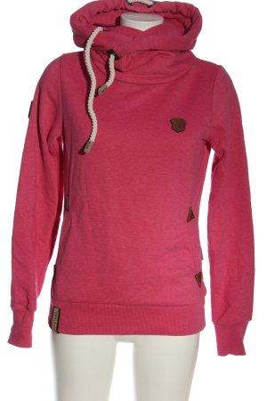 Naketano Sudadera con capucha rosa look casual