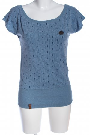 Naketano Kurzarm-Bluse blau-schwarz Allover-Druck Casual-Look