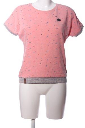 Naketano T-Shirt pink-blau Allover-Druck Casual-Look
