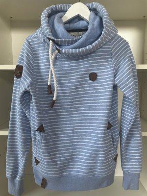 Naketano Maglione con cappuccio azzurro-bianco