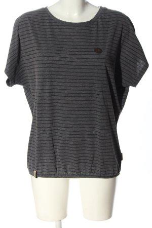 Naketano T-shirt rayé gris clair-noir motif rayé style décontracté