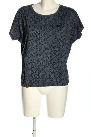 Naketano Schlupf-Bluse blau-schwarz Allover-Druck Casual-Look
