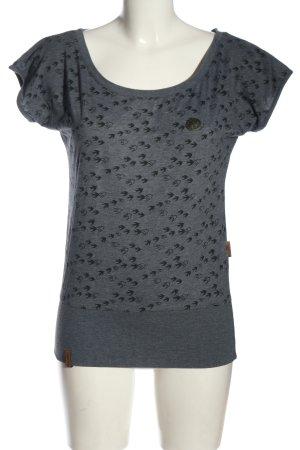 Naketano Koszulka z dzianiny jasnoszary-czarny Na całej powierzchni
