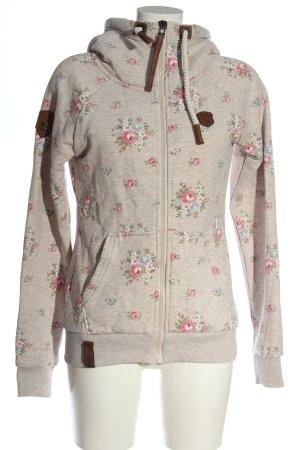 Naketano Sweat Jacket natural white-pink allover print casual look