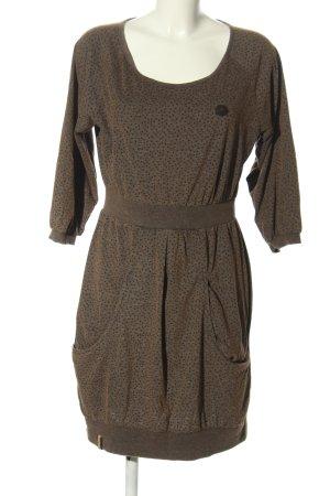 Naketano Sukienka dresowa brązowy-czarny Wzór w kropki W stylu casual
