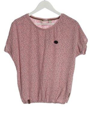 Naketano T-shirt rosa-nero stampa integrale stile casual