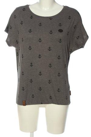 Naketano T-Shirt braun-schwarz Allover-Druck Casual-Look