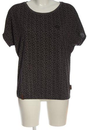 Naketano T-shirt jasnoszary-czarny Na całej powierzchni W stylu casual