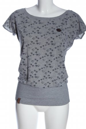 Naketano U-Boot-Shirt hellgrau-schwarz Allover-Druck Casual-Look