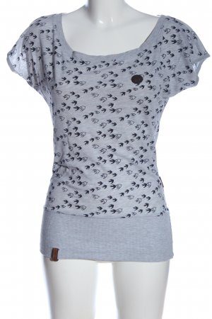 Naketano U-Boot-Shirt hellgrau-schwarz abstraktes Muster Casual-Look