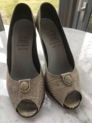 Peep Toe Pumps taupe-grey brown