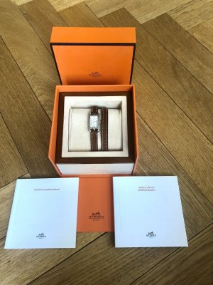 Hermès Zegarek ze skórzanym paskiem brązowy