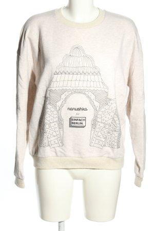 Nanushka Sweatshirt wollweiß-schwarz Motivdruck Casual-Look