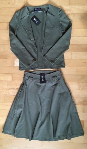 NAOKO Kostüm (Faltenrock/Blazer), khaki, XS/S/34/36 **neu**