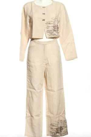 NAOMI Traje de pantalón blanco puro estampado con diseño abstracto look casual