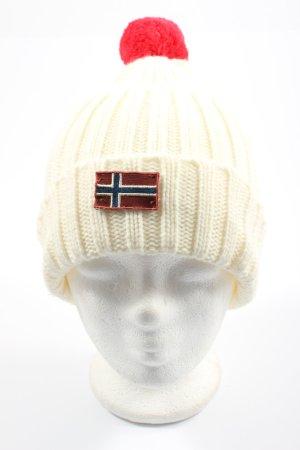 Napapijri Bonnet à pompon crème-rouge torsades style décontracté