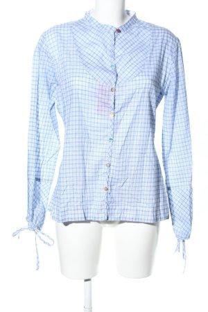 Napapijri Blusa de manga larga azul-blanco estampado a cuadros look casual