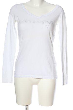 Napapijri Langarm-Bluse weiß-schwarz Motivdruck Casual-Look