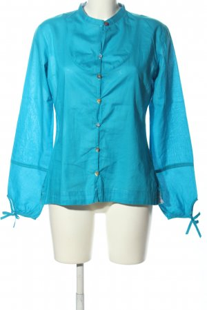Napapijri Langarm-Bluse blau Motivdruck Casual-Look