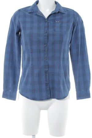 Napapijri Langarm-Bluse blau-weiß Karomuster Casual-Look