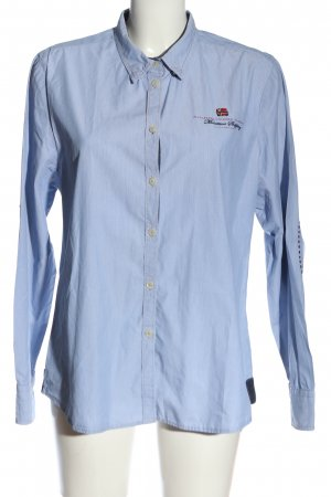 Napapijri Langarmhemd blau Schriftzug gestickt Business-Look