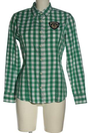 Napapijri Langarmhemd grün-weiß Karomuster Casual-Look
