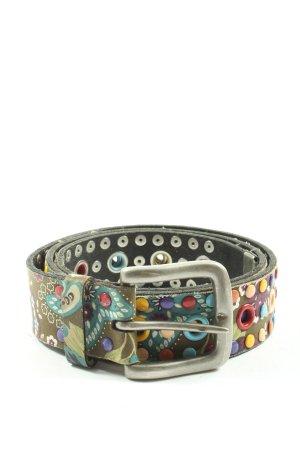 Napapijri Cinturón de cuero estampado con diseño abstracto look casual