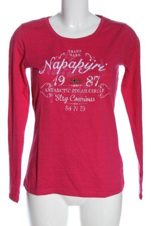 Napapijri Koszulka z długim rękawem różowy Wydrukowane logo W stylu casual
